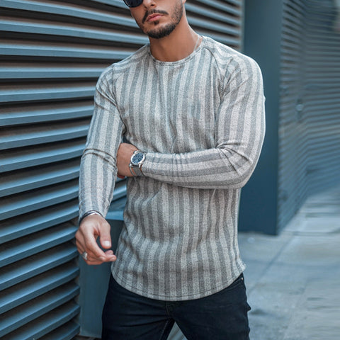 Men's Striped Round Neck Waist Sleeve T-Shirt