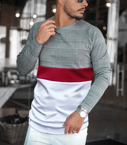 Casual Colorblock Plaid Round Neck Long Sleeve T-Shirt