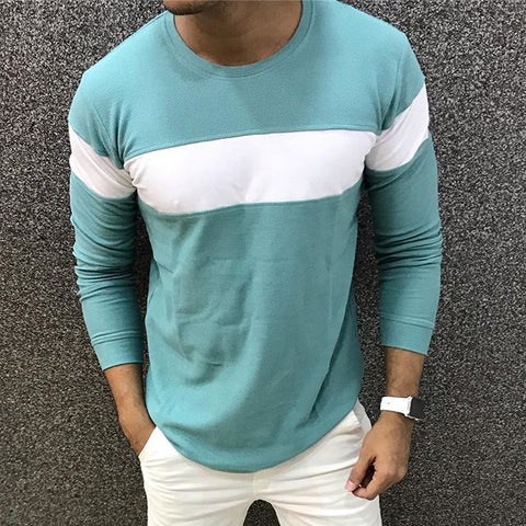 Fashion Casual Contrast Color Round Neck T-Shirt