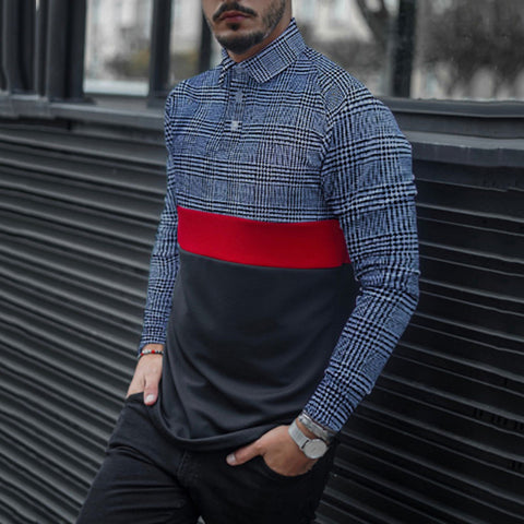 Men's Fashion Casual Striped Colorblock Long Sleeve Shirt