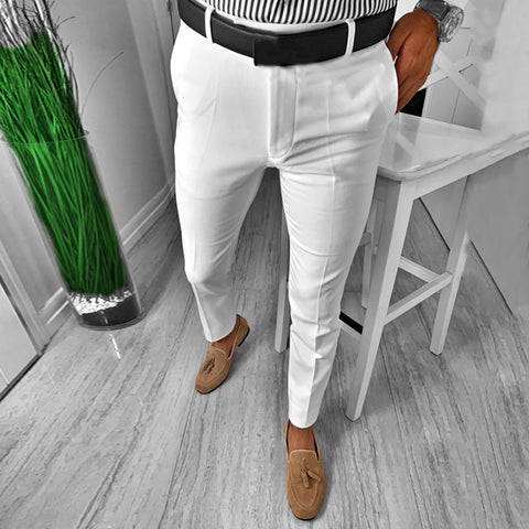 Temperament Pure White Casual Pants