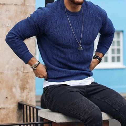 Casual Round Neck Solid Color Slim Men's Knit Sweaters