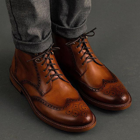 Vintage Men Patchwork Breathable Plain Boots