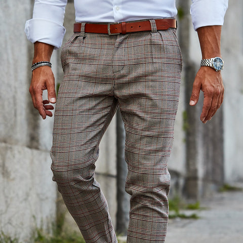 Men's Casual Checked Slim Trousers
