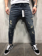 High Street Fashion Slim Personality Knee pants Trousers Men's Hole Jeans
