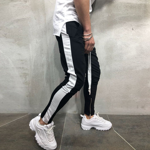 Colorblock Foot Zipper Stitching Sweatpants