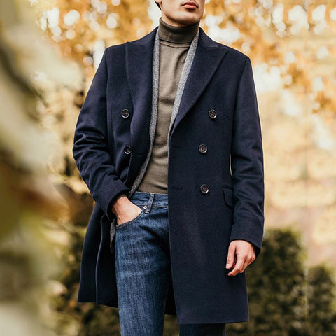 British Style Dark Blue Double-Breasted Long Coat