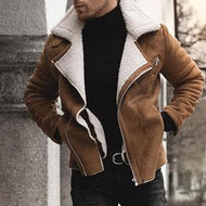 Cotton Men's Imported Lamb Liner Lapel Leather Jacket