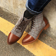 British Plaid  Lace Up Pointed  Casual Martin Boots
