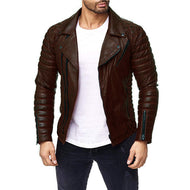 Men's Motorcycle Leather Large Size Multi-Zip Jacket
