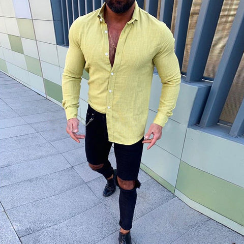 Men's Solid Color Long Sleeve Shirt