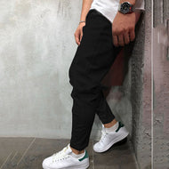 Fashion Casual Pure Colour Elastic Waistband Pants