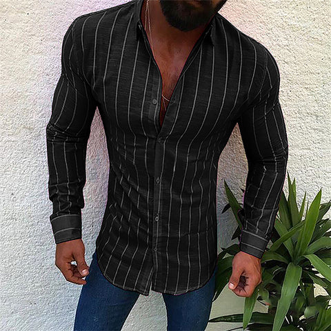 Men's Simple Fashion Pinstripe Slim Fit  Shirt