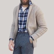 British Style Khaki Knit Cardigan