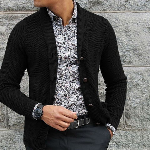 Fashion Lapel Single-Breasted Long-Sleeved Knit Sweaters
