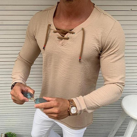 Casual Pure Colour Tether V Neck T-Shirt