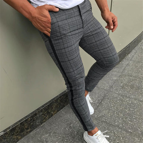 Men's British Plaid Slimming Pencil Pants