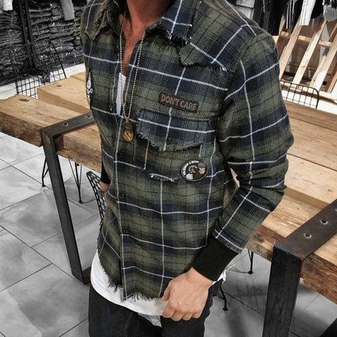 Men's Lapel Long Sleeve Single-Breasted Plaid Shirt