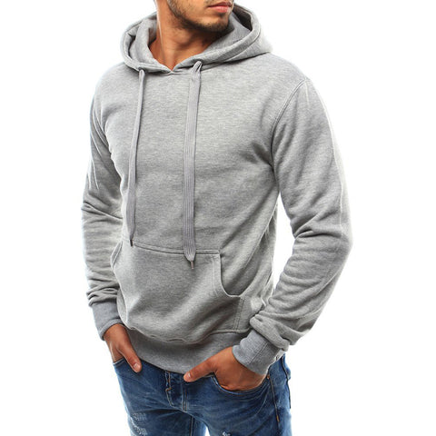 Sports Casual Pure Colour Drawstring Hooded Sweatshirt