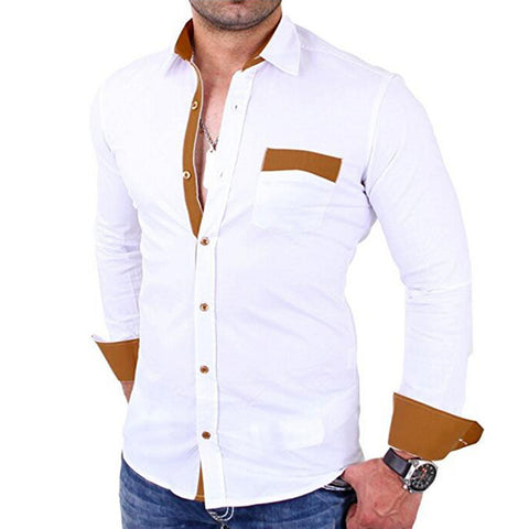 Men Classic Pocket Colouring Casual Slim Long Sleeve Shirt