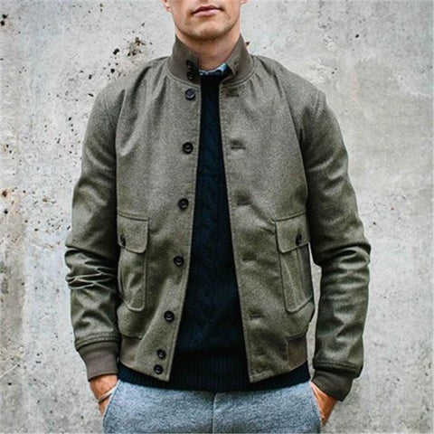 Men's Solid Color Stand Collar Button Jacket