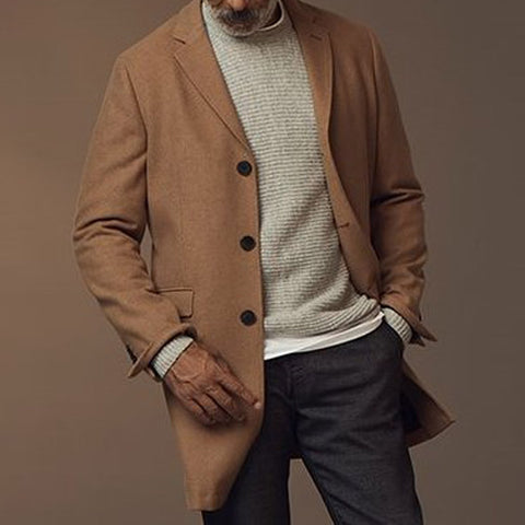 Mens classic casual solid color buttoned coat