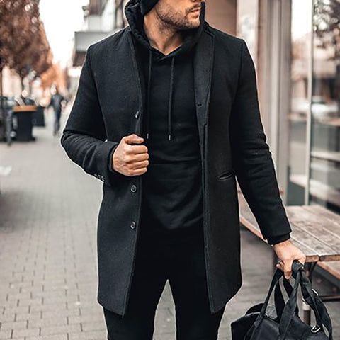 Mens Fashion Solid Colour Single Breasted Overcoat