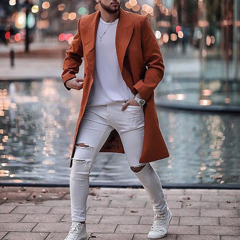 Mens Fashion Solid Colour Long Sleeve Overcoat