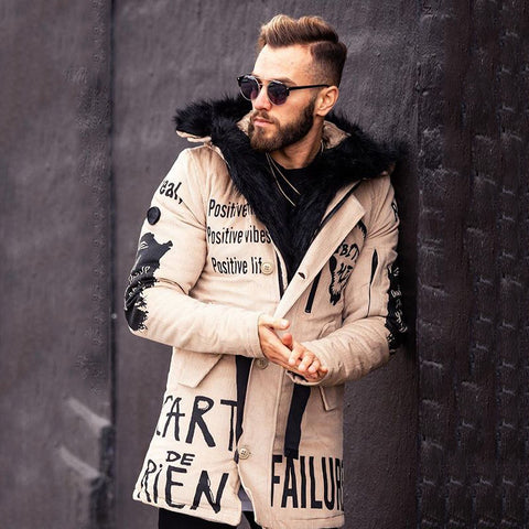 Men fashion letter printed hooded overcoat