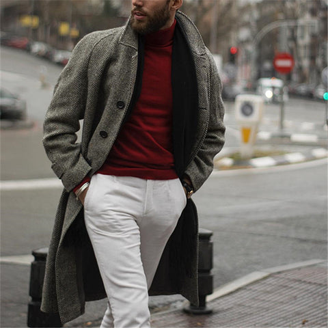 Men's Fashion Business Style Single-Breasted Gray Coat