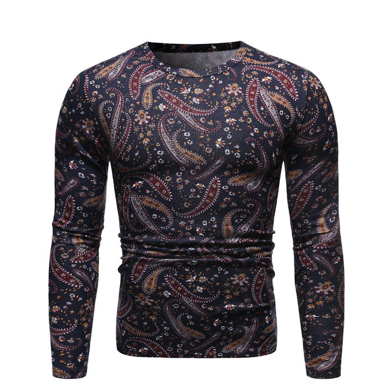 Casual Slim Long Sleeve Round Neck Floral T-Shirt