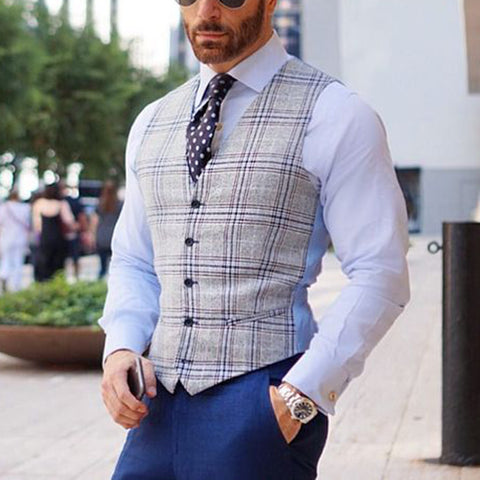 Fashion Classic Check V Neck Fitted Vest