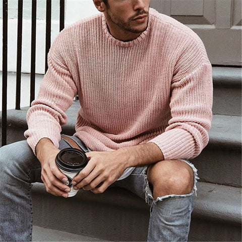 Casual Solid Color Round Neck Knit Sweater