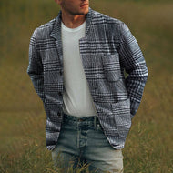 Mens Stylish Casual Check Button Jacket