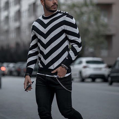 Casual Striped Long Sleeve Knit T-Shirt