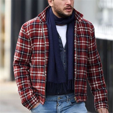 Casual Stand Collar Zipper Plaid Jacket