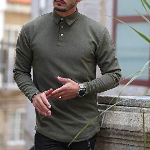 Men's fashion leisure solid color shirt