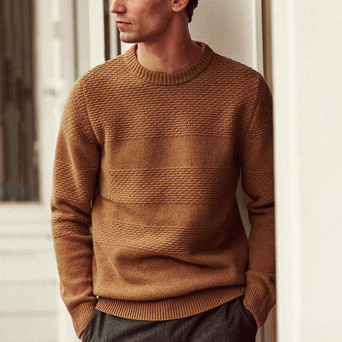 Autumn/Winter Men'S Pure Color Round Neck Sweater.