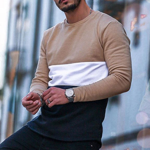 Men's Casual Long Sleeve Round Neck Colorblock T-Shirt