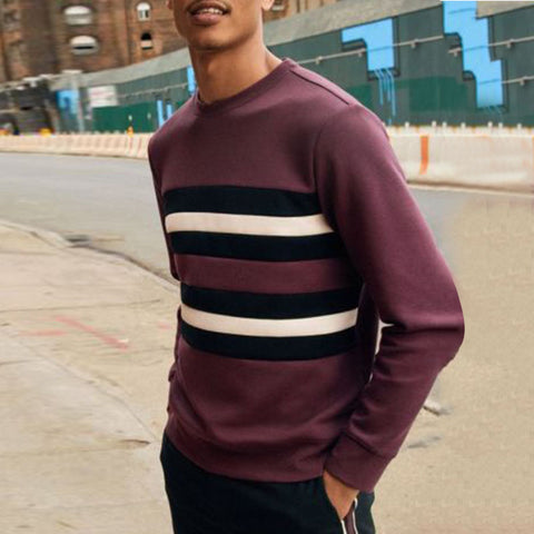 Men's Casual Striped Long Sleeve Sweater
