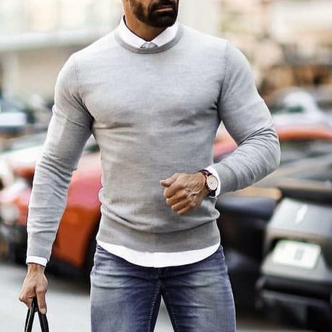 Casual Solid Color Slim Men's Knit Sweater