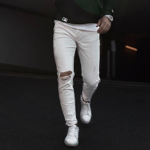Men's Casual Broken Hole White Loose Jeans