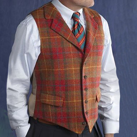 Men'S Leisure Single Row Buckle Plaid Vest