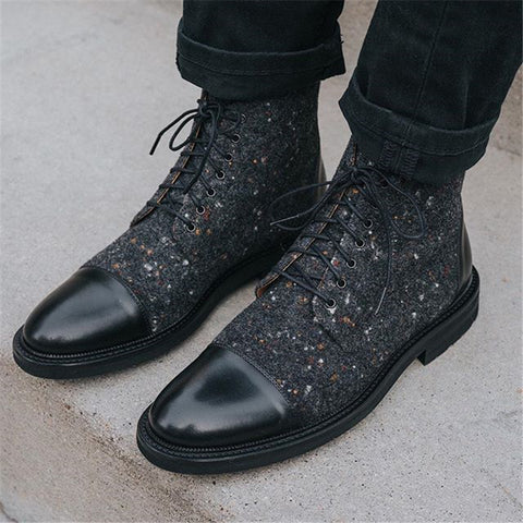 Men's fashion stitching lace-up boots