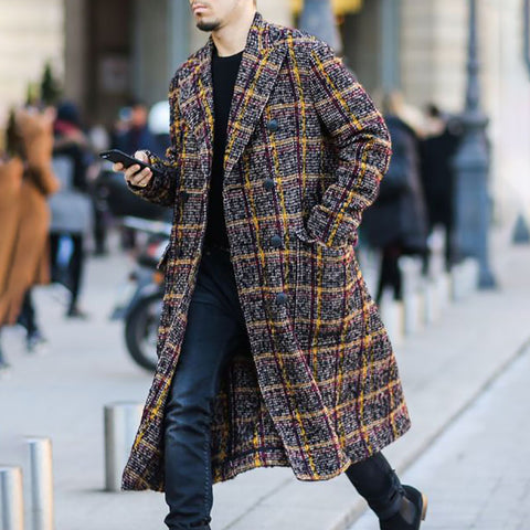 Stylish casual lapel plaid double-breasted coat