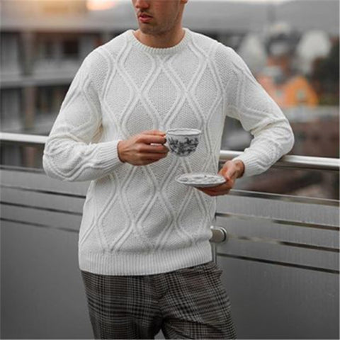 Men's Fashion Round Neck Stitched Solid Sweater