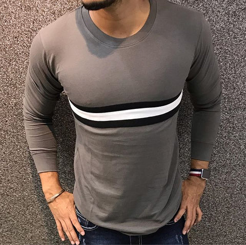 Casual Round Neck Color Block T-shirt