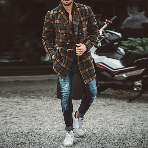 Mens Fashion Plaid Double Breasted Coat