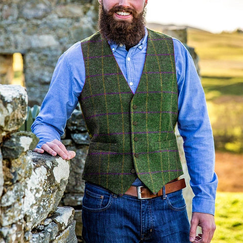 British Style V Neck Plaid Vest