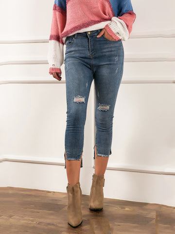 Casual fashion irregular foot jeans